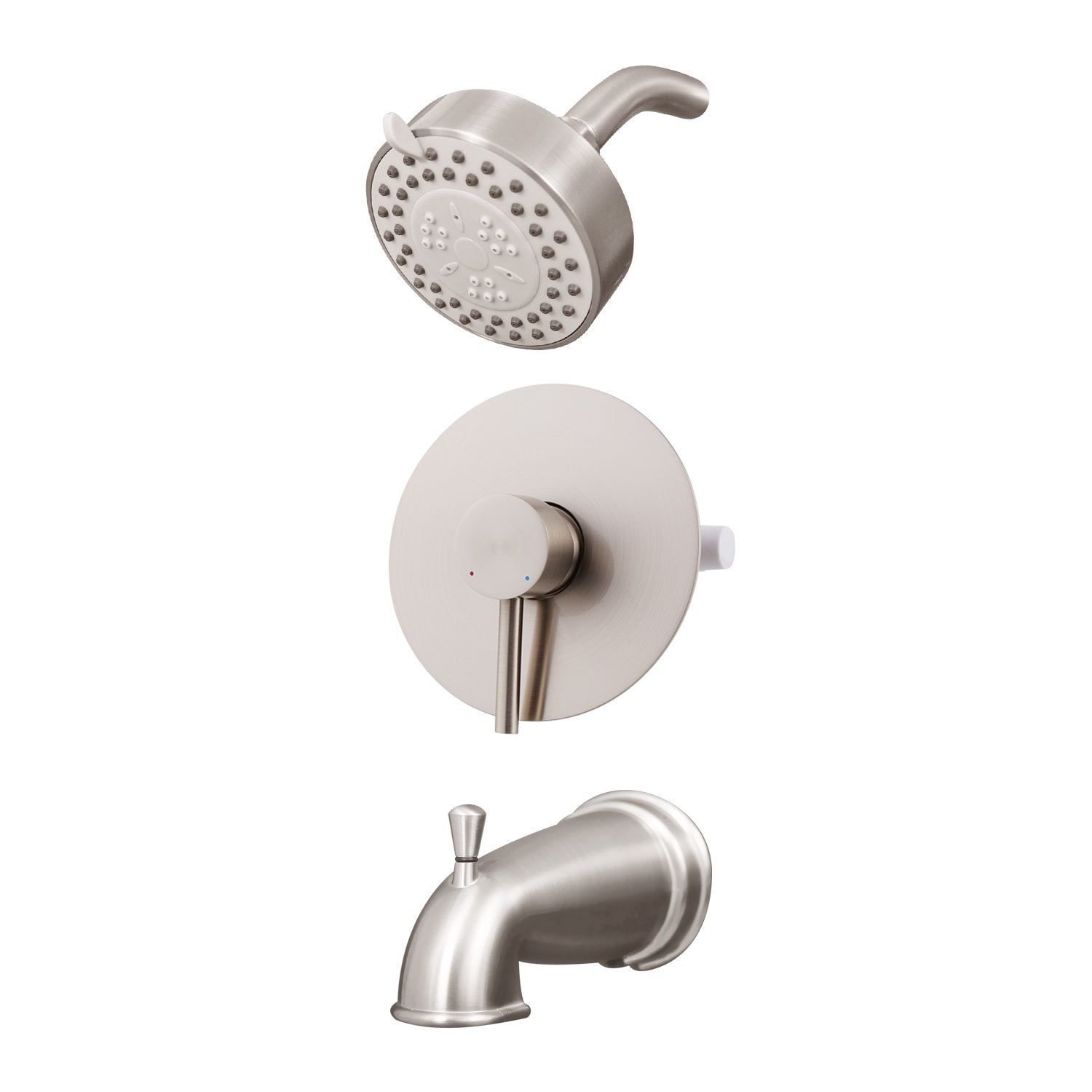 DAX Shower System, Faucet Set, with Shower and Tub Trim, Wall Mount, Brass Body, Brushed Nickel Finish (DAX-0306-BN)