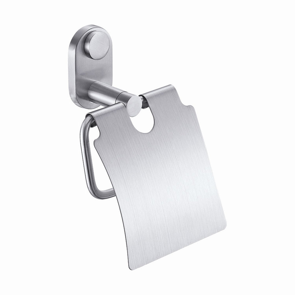 DAX Toilet Paper Holder with Cover, Right Opening, Wall Mount, Stainless Steel Body, Satin Finish, 5-5/16 x 3-1/8 x 4-15/16Inches (DAX-G0207-S)