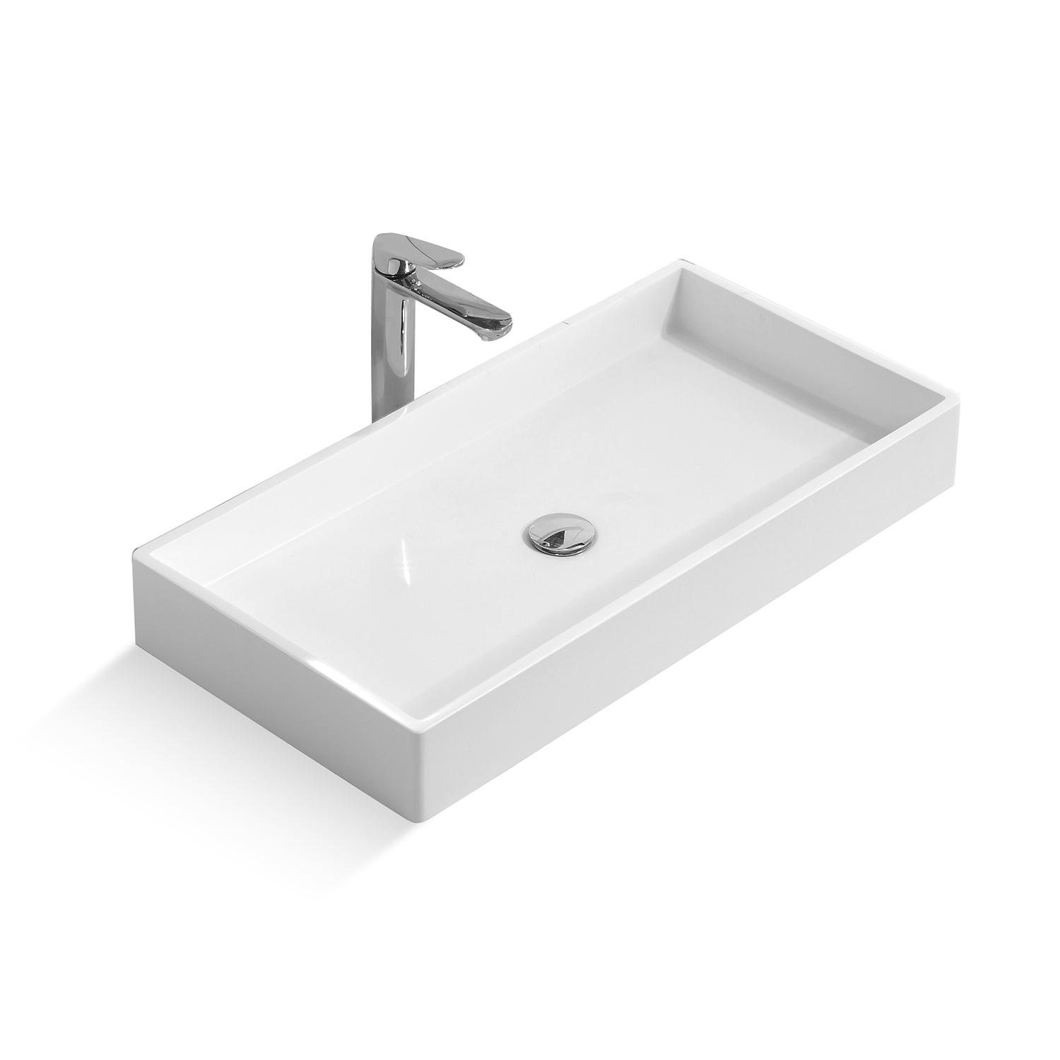 DAX Solid Surface Rectangle Single Bowl Bathroom Vessel Sink, White Finish,  31-1/2 x 15-3/4 x 4-1/8 Inches (DAX-AB-1327)