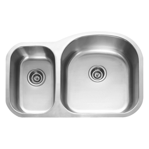 DAX 30/70 Double Bowl Undermount Kitchen Sink, 18 Gauge Stainless Steel, Brushed Finish , 31-1/2 x 20-1/2 x 9 Inches (DAX-3121R)