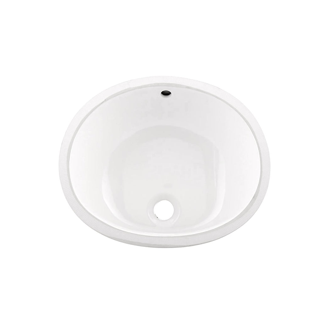 DAX Ceramic Oval Single Bowl Undermount Bathroom Sink, White Finish, 18 x 14-3/4 x 7-1/2 Inches (BSN-205B-W)