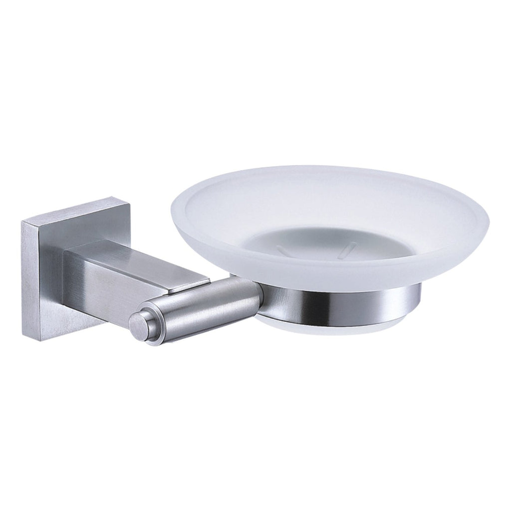 DAX Stainless Steel Soap Dish, Wall Mount with Glass Tray, Polish Finish, 5-7/16 x 1-7/8 x 4-3/4 Inches (DAX-G0105-P)