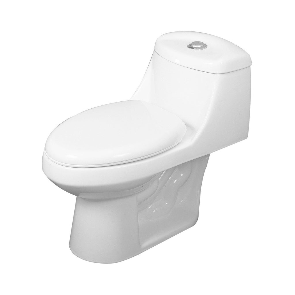 DAX One Piece Oval Toilet with Soft Closing Seat and Dual Flush High-Efficiency, Porcelain, White Finish, Height 25-1/2 Inches (BSN-11)