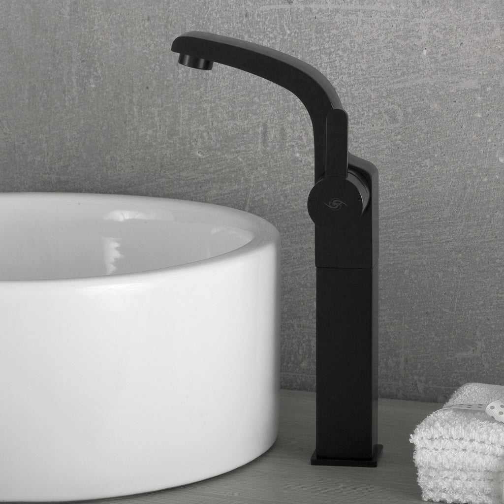 DAX Single Handle Vessel Sink Bathroom Faucet, Brass Body, Brushed Finish, 4-3/4 x 12-1/8 Inches (DAX-8220B-PB)