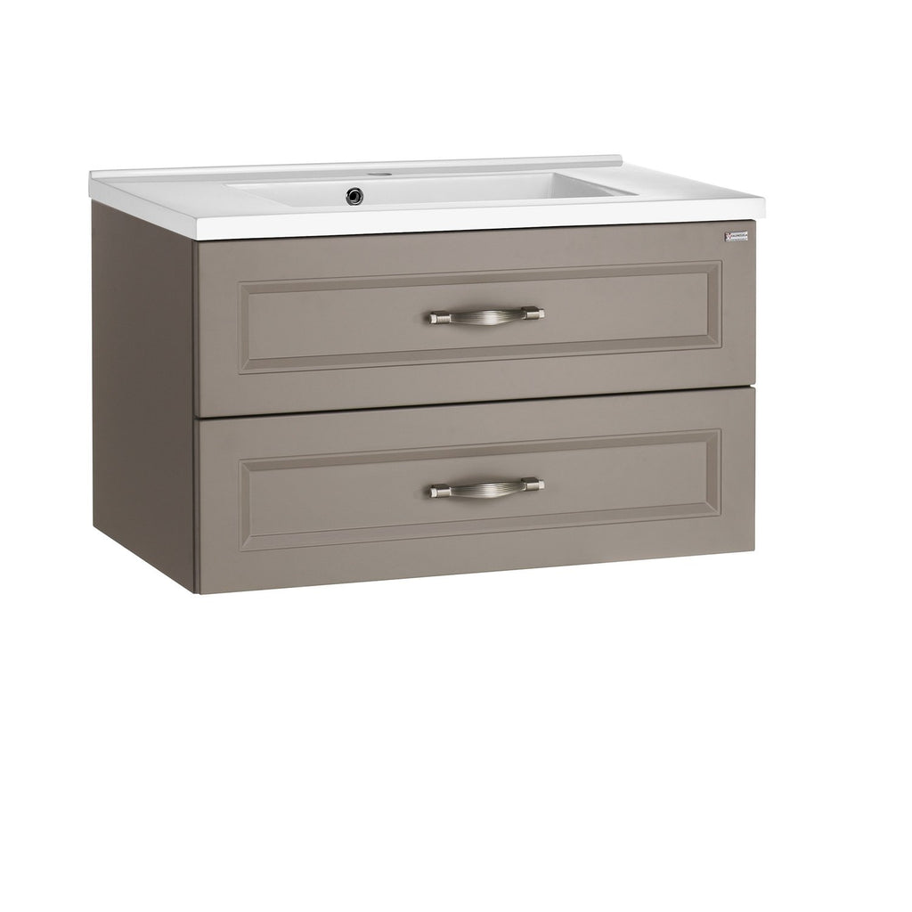 "28"" Single Vanity, Wall Mount, 2 Drawers with Soft Close, Mink Matt, Serie Class by VALENZUELA"