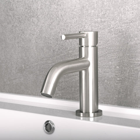 DAX Single Handle Bathroom Faucet, Brass Body, Brushed Finish, 4-15/16 x 6-1/8 Inches (DAX-119-BN)