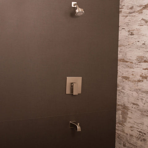 DAX Shower System, Faucet Set, with Shower and Tub Trim, Wall Mount, Brass Body, Brushed Nickel Finish (DAX-0304-BN)