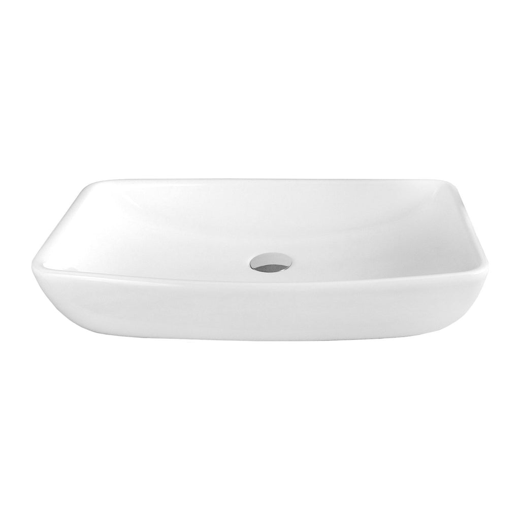 DAX Ceramic Rectangle Single Bowl Bathroom Vessel Sink, White Finish, 23-13/16 x 15-1/8 x 2-5/16 Inches (BSN-285I)