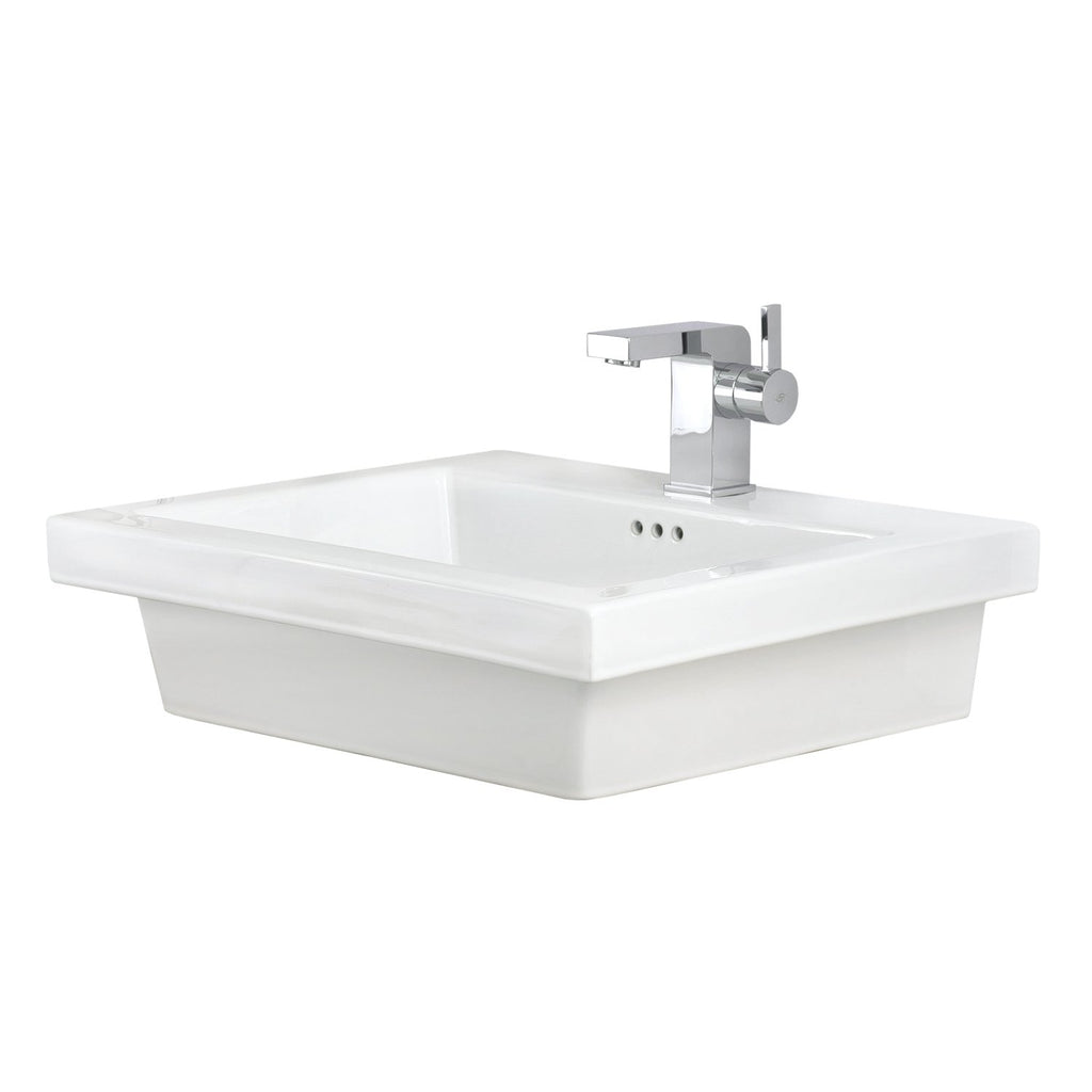 DAX Ceramic Rectangle Single Bowl Bathroom Vessel Sink, White Finish, 24-1/2 x 19-1/8 x 6-7/8 Inches (BSN-CL1242)