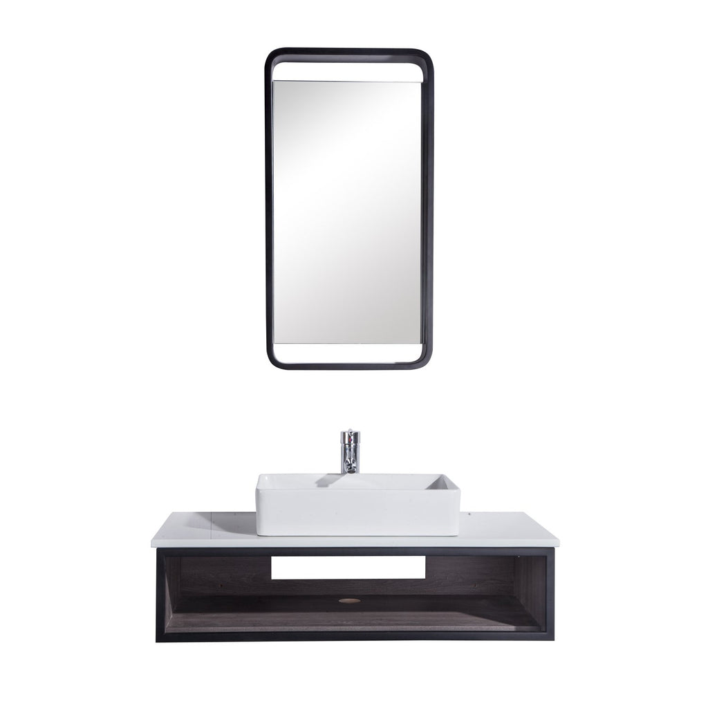"36"" Single Vanity Cabinet Set, Wall Mount, Mirror and White Ceramic Vessel Sink with Gloss White Glass Countertop and Shelf, ELM Finish, Citta Collection by DAX"