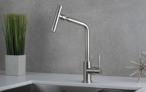 DAX Modern Single Handle Kitchen Faucet, Stainless Steel Body, Brushed Finish,  Size 10-5/16 x 16-1/2 Inches (DAX-70118)