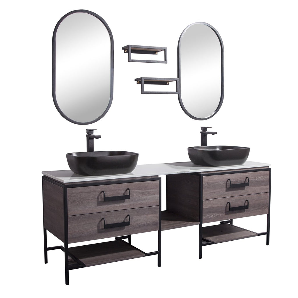 "72"" Double Vanity Cabinet Set, Floor Mount, 2 Mirror and 2 Matt Black Ceramic Vessel Sink with Gloss White Glass Countertop, 4 Drawers and 2 Shelves, ELM Finish, Harper Collection by DAX"