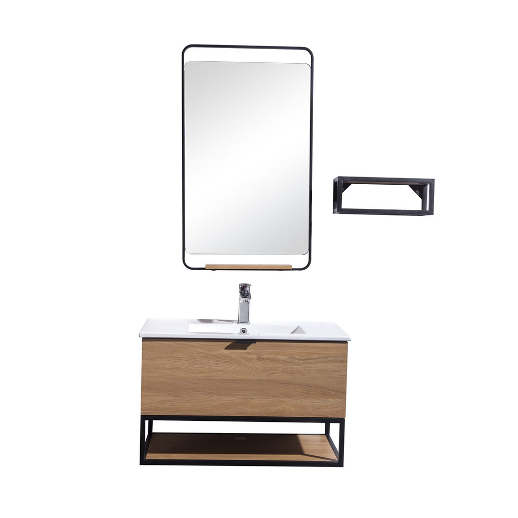 "32"" Single Vanity Cabinet Set, Wall Mount, Mirror and White Ceramic Sink with Glass Gloss White Ceramic Countertop, Drawer and Shelf, Ash Finish, Veneto Collection by DAX"