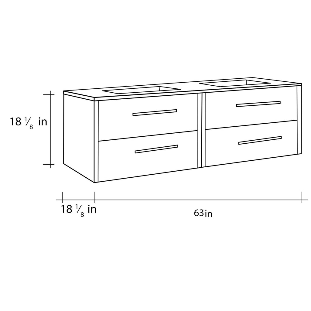 "64"" Double Vanity, Wall Mount, 4 Drawers with Soft Close, Moon - White, Serie Nova by VALENZUELA"