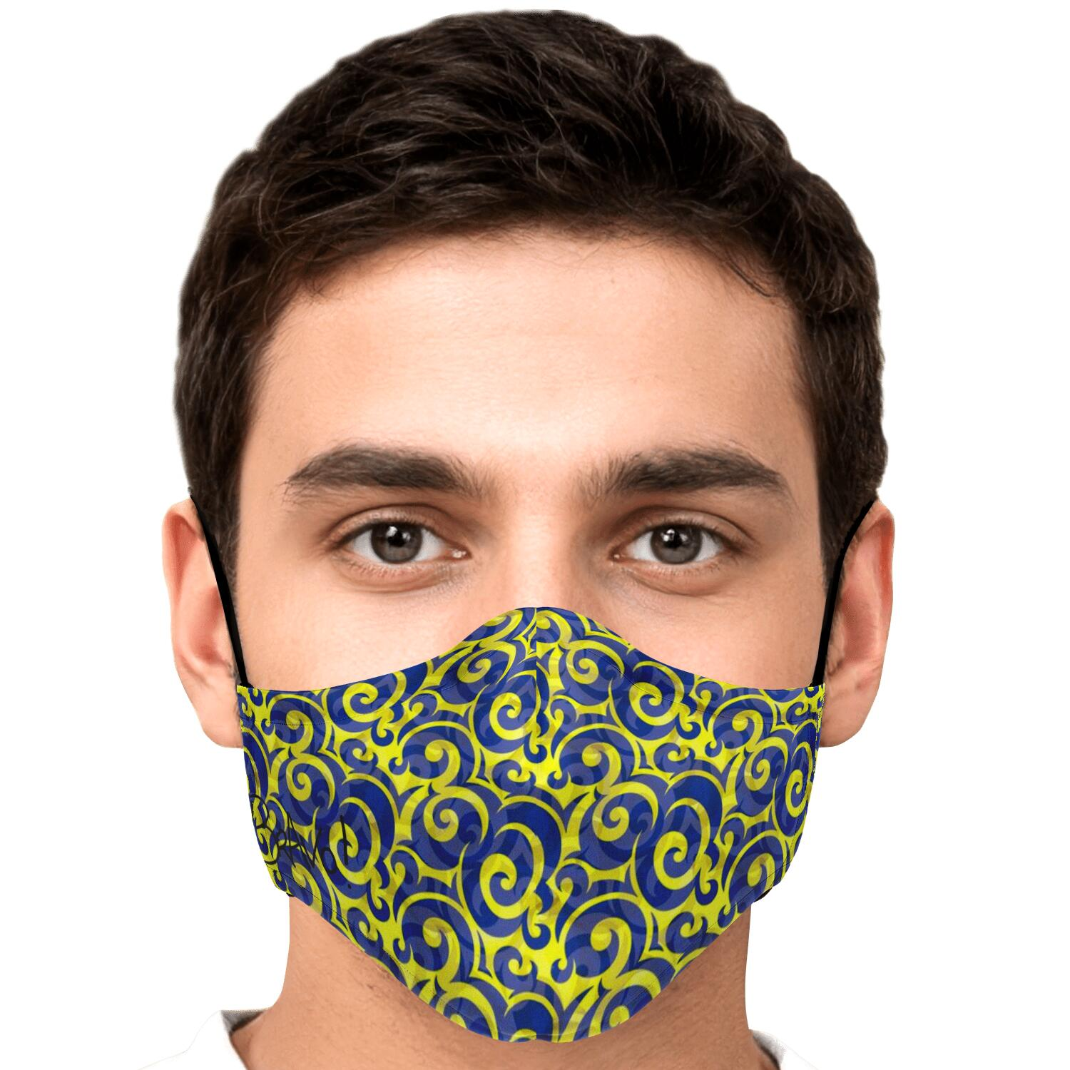 CHIC WAVE PATTERN BLUE YELLOW REUSABLE FACE MASK
