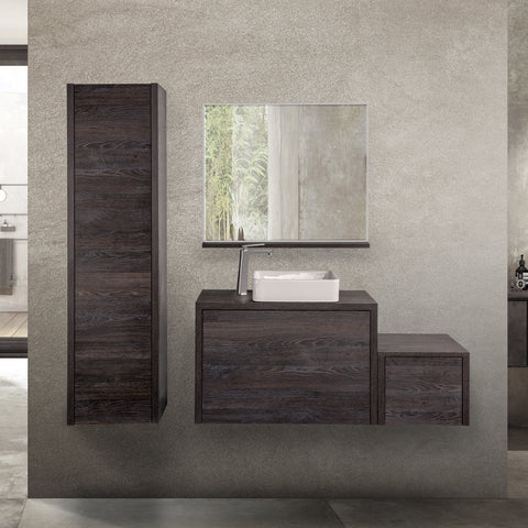 "24"" Single Vanity Cabinet, Wall Mount, 1 Big Drawer with Hidden Drawer, Oak Chicago, 'OHANA Collection by DAX"