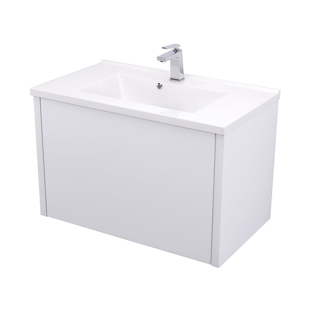 "32"" Single Vanity Cabinet, Wall Mount, 1 Big Drawer with Hidden Drawer, White Gloss, 'OHANA Collection by DAX"
