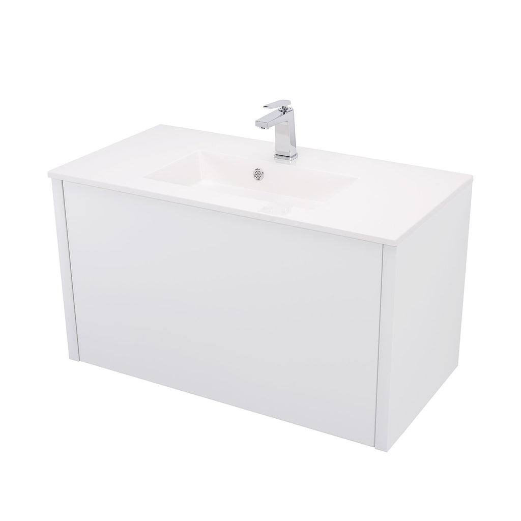 "36"" Single Vanity Cabinet, Wall Mount, 1 Big Drawer with Hidden Drawer, White Gloss, 'OHANA Collection by DAX"