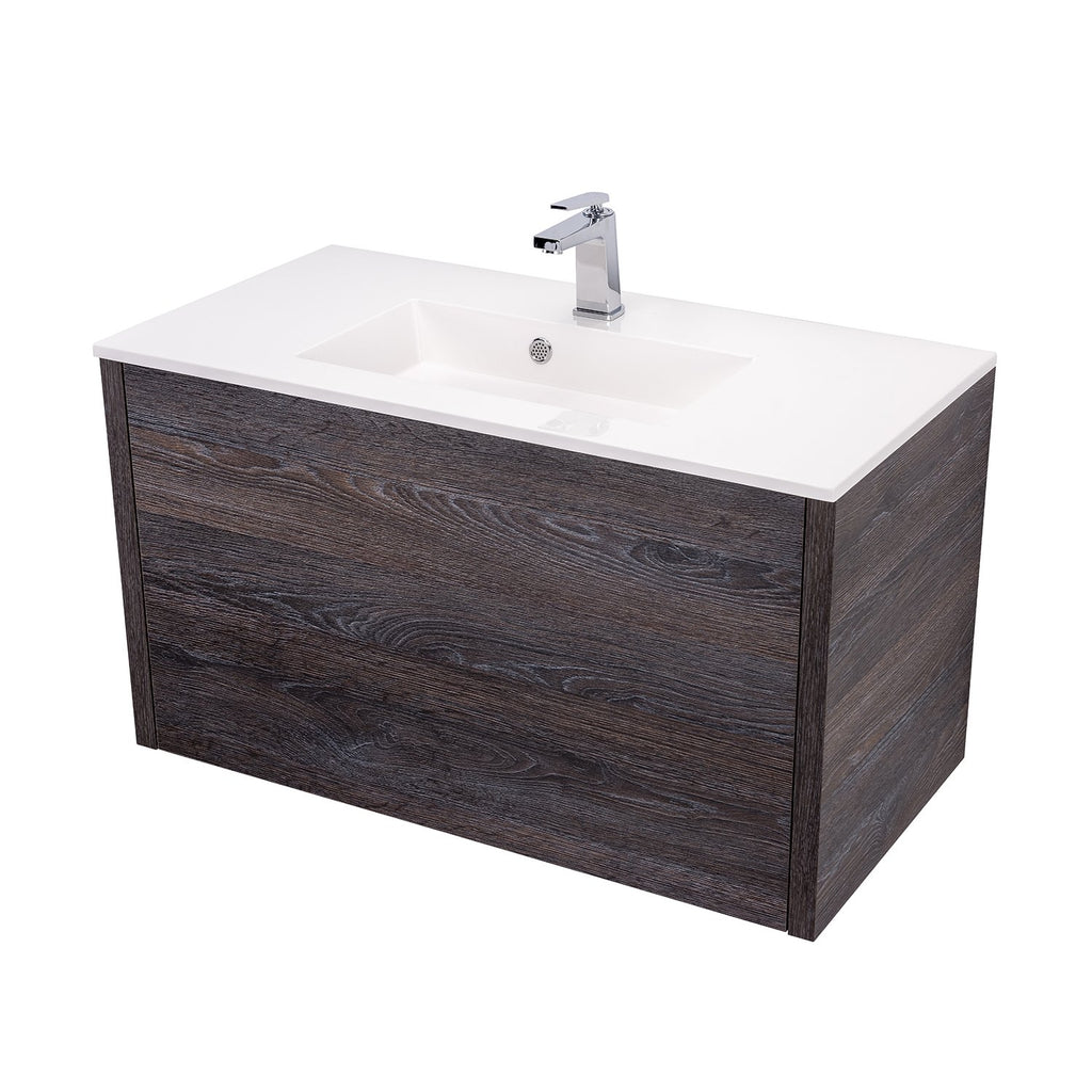 "36"" Single Vanity Cabinet, Wall Mount, 1 Big Drawer with Hidden Drawer, Oak Chicago, 'OHANA Collection by DAX"