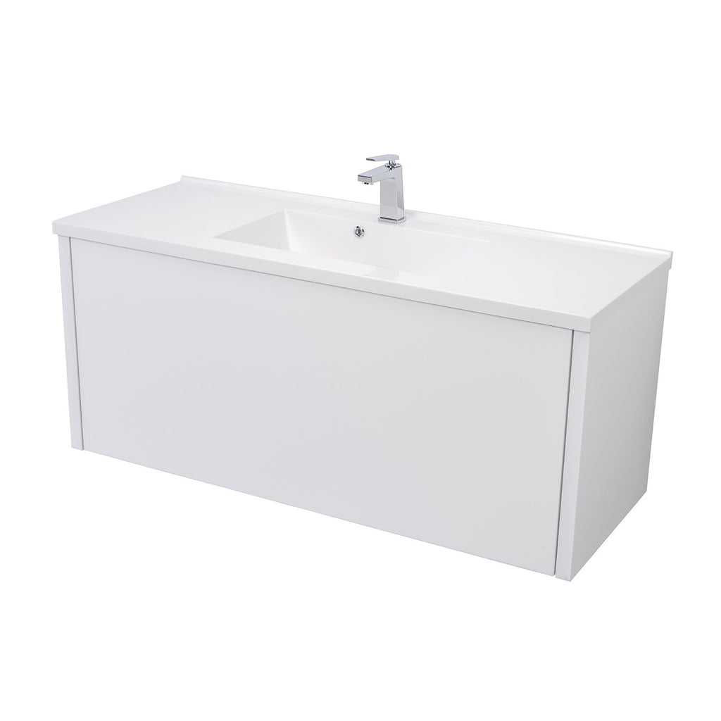 "48"" Single Vanity Cabinet, Wall Mount, 1 Big Drawer with Hidden Drawer, White Gloss, 'OHANA Collection by DAX"