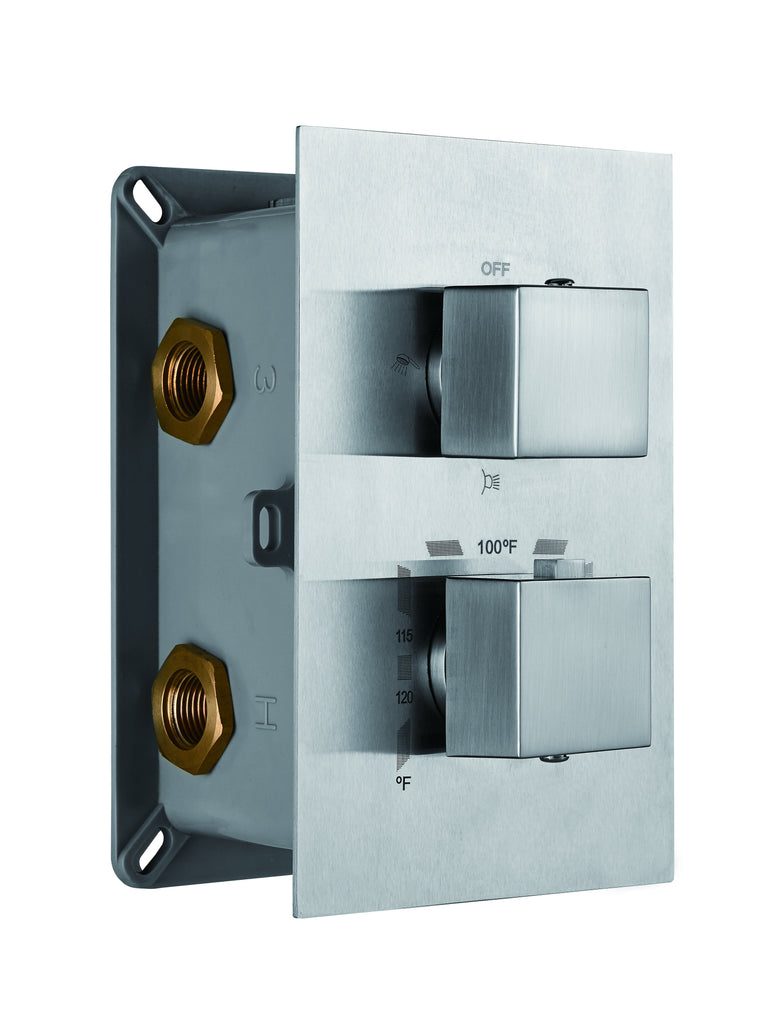 DAX Square Concealed Valve. thermostatic Mixer with 2/3 Function Diverter. chrome Finish (DAX-11002-SQ-CR)