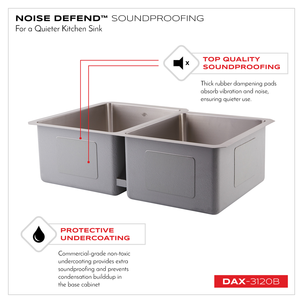 DAX 60/40 Double Bowl Undermount Kitchen Sink, 16 Gauge Stainless Steel, Brushed Finish , 31-1/4 x 9 x 20-1/2 Inches (DAX-3120B)