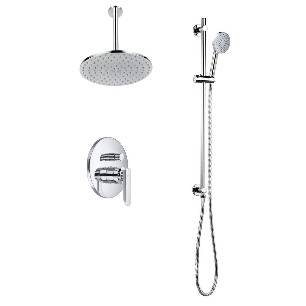 DAX Shower System, Faucet Set, with Round Rain Shower Head and Glide Rail Hand Shower, Wall Mount, Brass Body, Chrome Finish (DAX-8312)