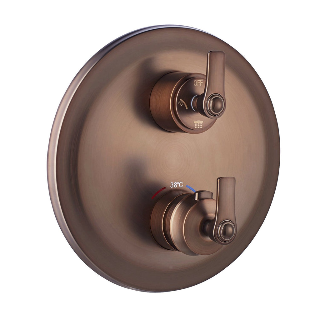 DAX Round Shower Single Valve Trim with Temperature Control, Brass Body, Oil Rubbed Bronze Finish (DAX-79909-ORB)