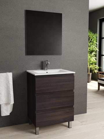 "DAX Costa vanity cabinet, 24"", glossy wenge with Onix basin (DAX-COS012413-ONX)"