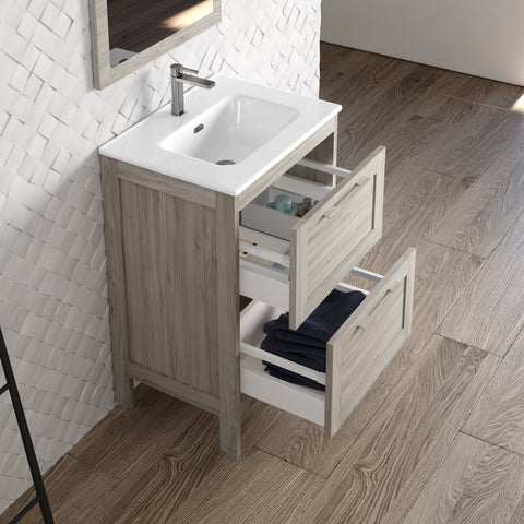 DAX Lakeside Single Vanity 24 Inches Gray Pine with Onix Basin (DAX-LAKE012412-ONX)