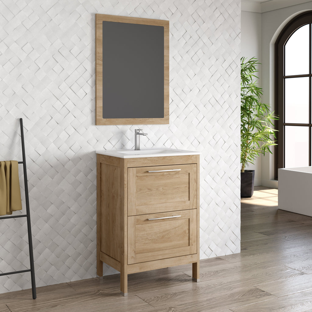 DAX Lakeside Single Vanity 24 Inches Oak with Onix Basin (DAX-LAKE012414-ONX)
