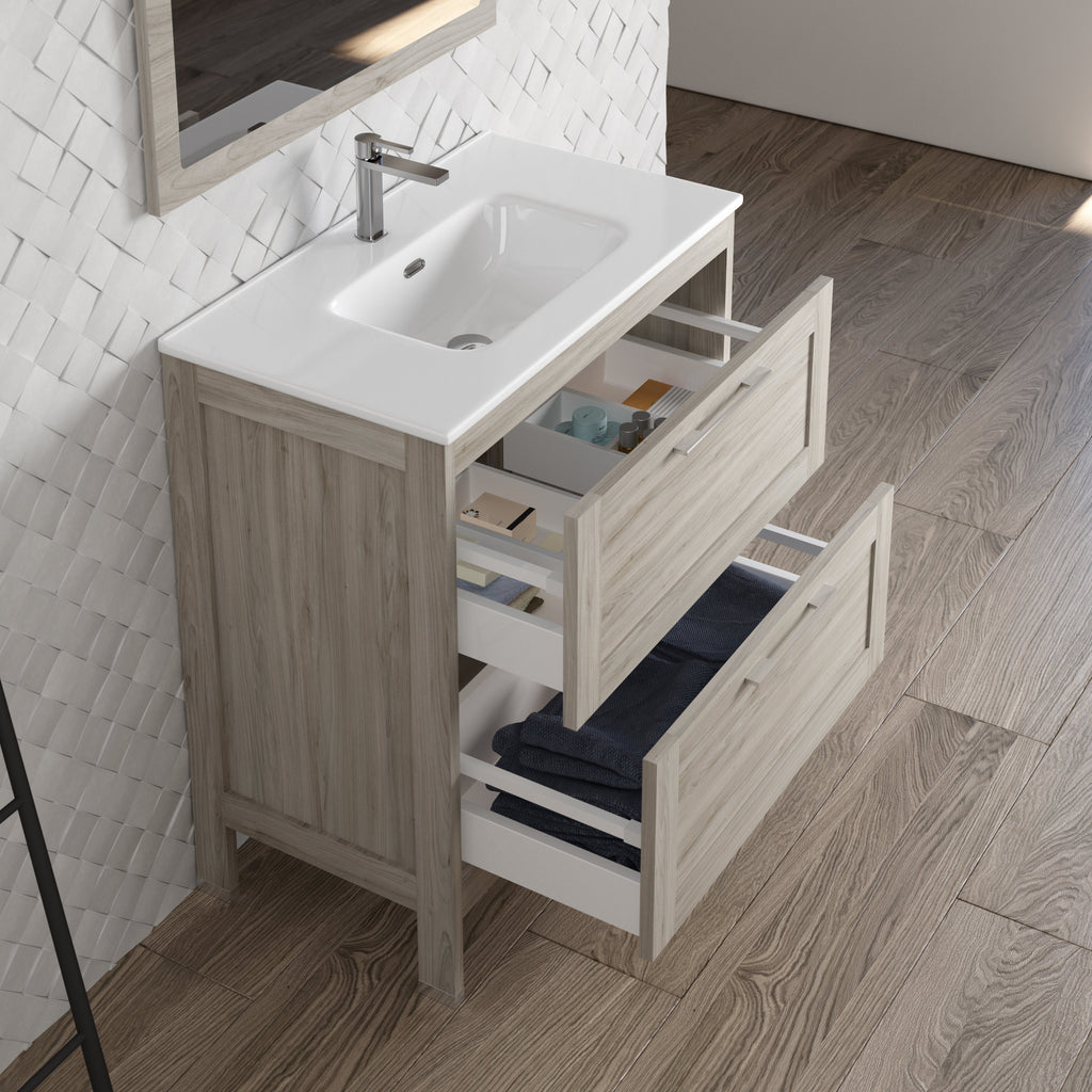 DAX Lakeside Single Vanity 32 Inches Gray Pine with Onix Basin (DAX-LAKE013212-ONX)