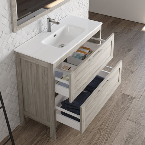 DAX Lakeside Single Vanity 40 Inches Gray Pine with Onix Basin (DAX-LAKE014012-ONX)