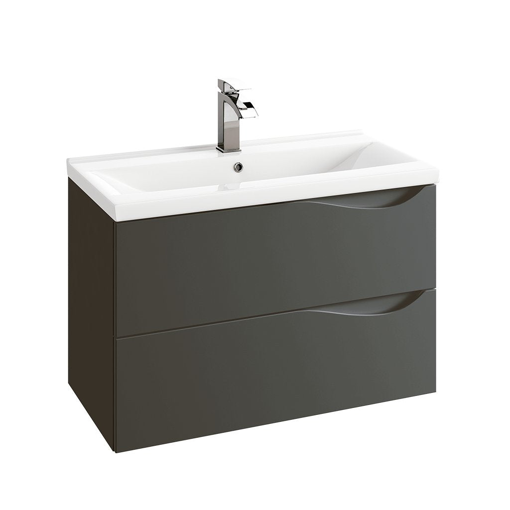 "DAX Morea single vanity cabinet 32"" matte graphite with Olex basin (DAX-MOR013218-OLEX)"