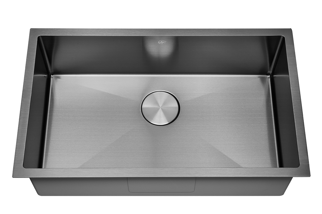 DAX Handmade Nanometre Single Bowl Undermount Kitchen Sink - Black Stainless Steel 304 - Accessories Included (DAX-NB3018-R10)