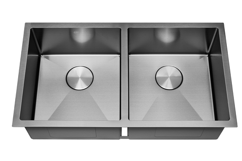 DAX Handmade Nanometre Double Bowl Undermount Kitchen Sink - Black Stainless Steel 304 - Accessories Included (DAX-NB3218-R10)