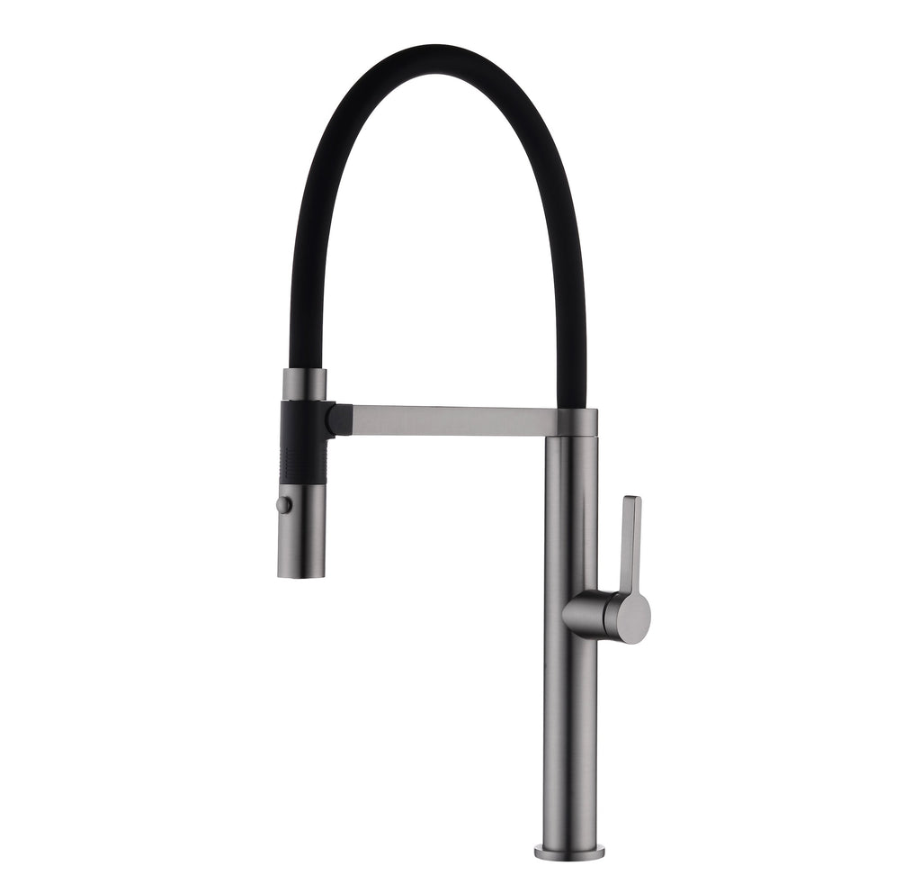 DAX Single Handle Pull Out Kitchen Faucet with Dual Sprayer, Brass Body and Shower Head, Gun Metal Finish, 9-3/16 x 21-5/8 Inches (DAX-S2417-01)