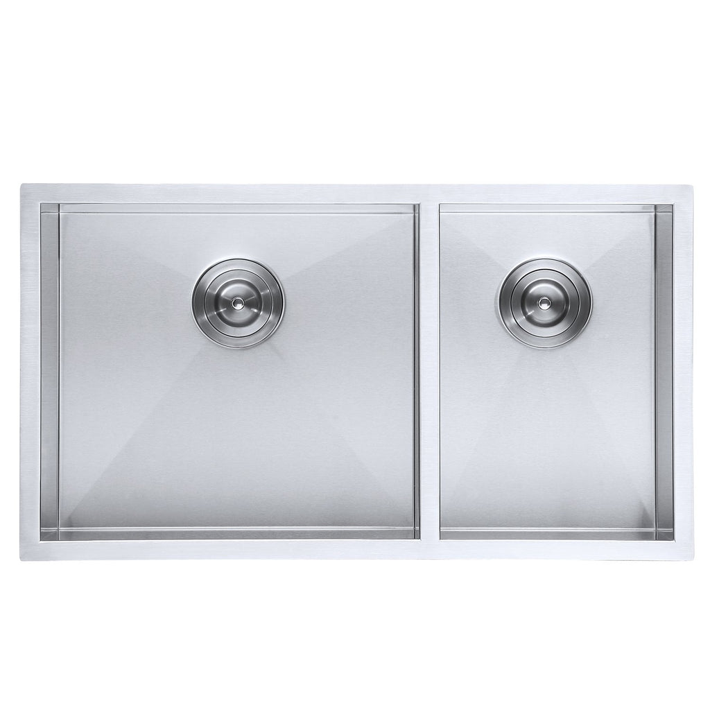 DAX Double Bowl Undermount Kitchen Sink, 16 Gauge Stainless Steel, Brushed Finish , 32 x 18 x 10 Inches (DAX-SQ-3218)