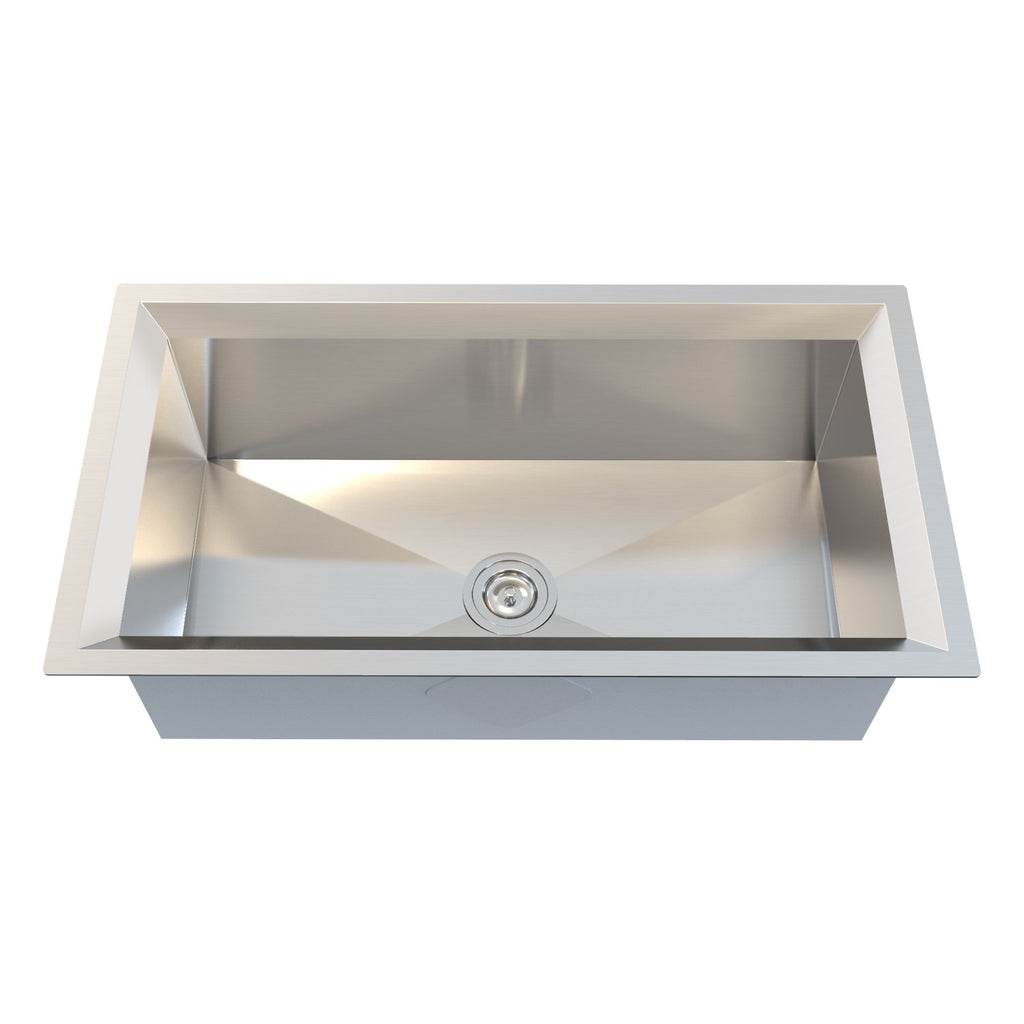 DAX Single Bowl Undermount Kitchen Sink, 16 Gauge Stainless Steel, Brushed Finish, 33 x 18 x 10 Inches (DAX-SQ-3318-16)