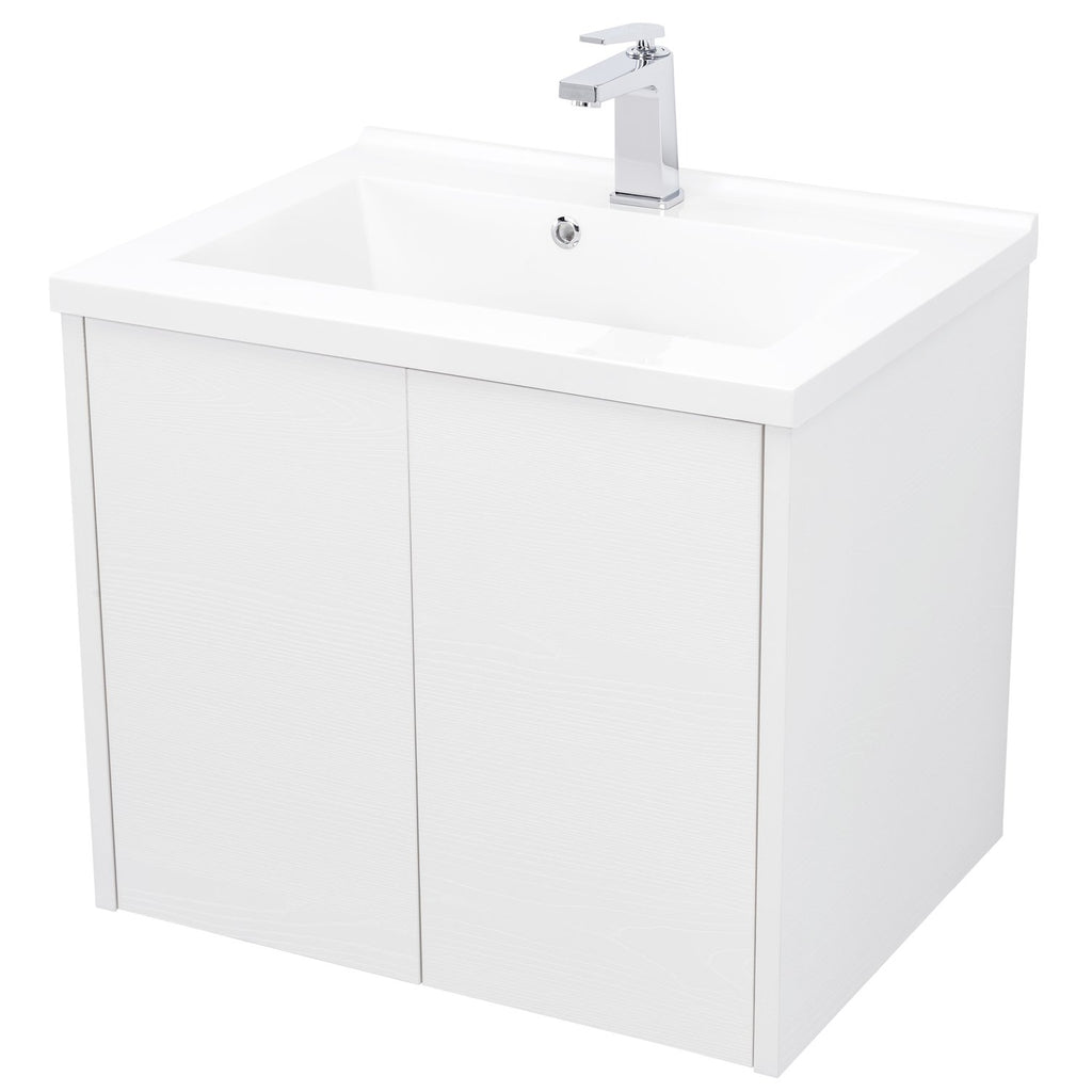 "24"" Single Vanity Cabinet, Wall Mount, 2 Doors, White, ZEN Collection by DAX"
