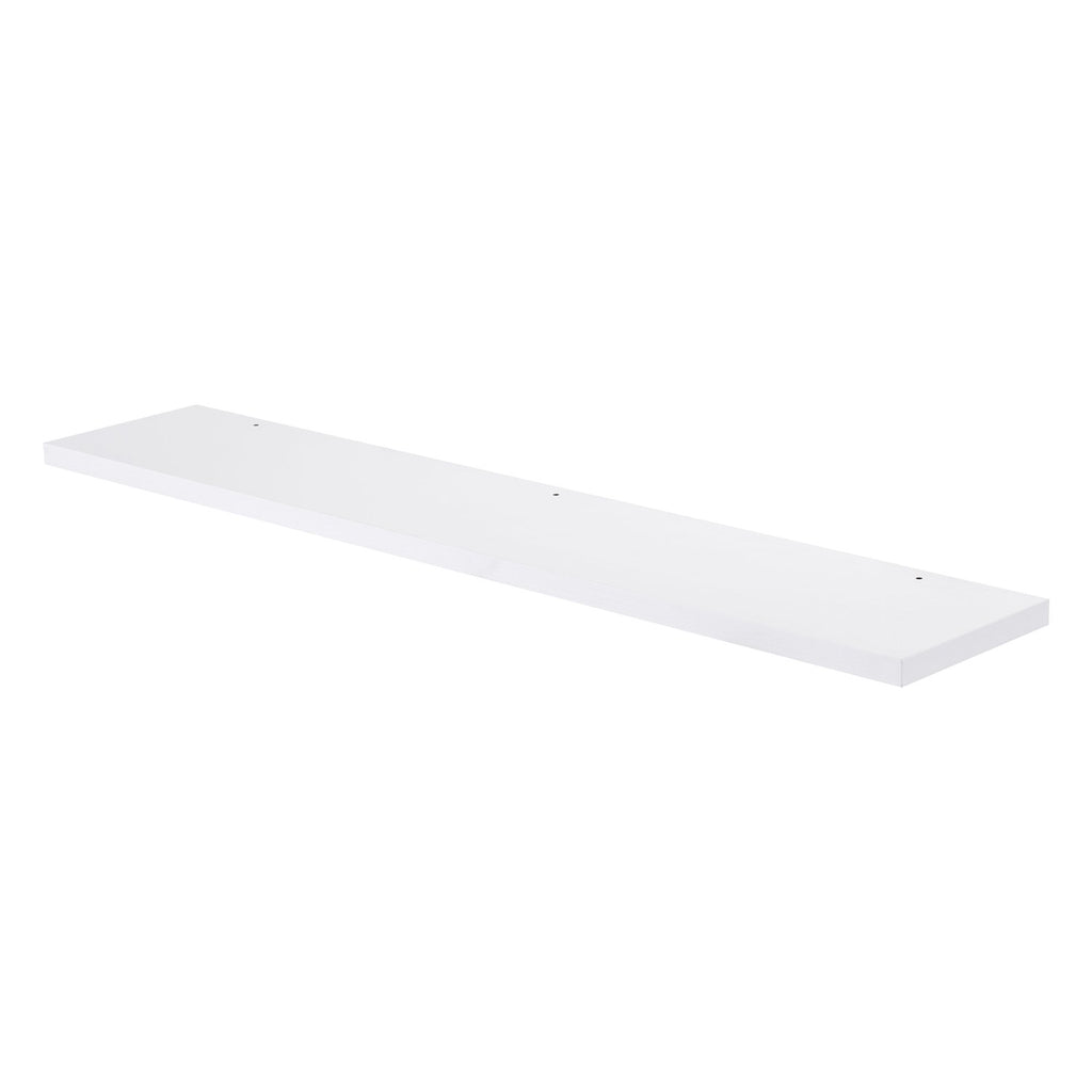 "36"" Wood Finish Mirror Shelf, Wall Mount, White, ZEN Collection by DAX"