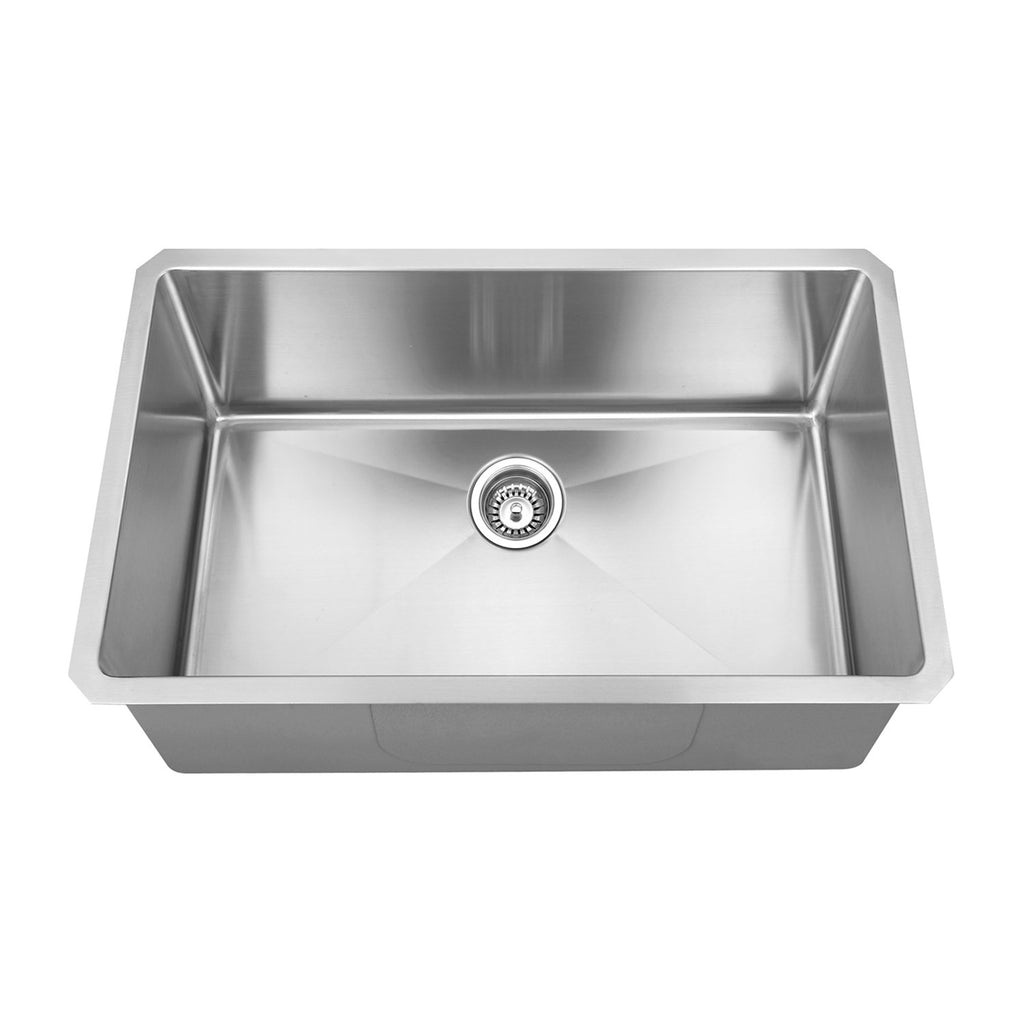 DAX Handmade R10 Single Bowl Undermount Kitchen Sink, 18 Gauge Stainless Steel, Brushed Finish, 29 x 18 x 10 Inches (KA-2818R10)