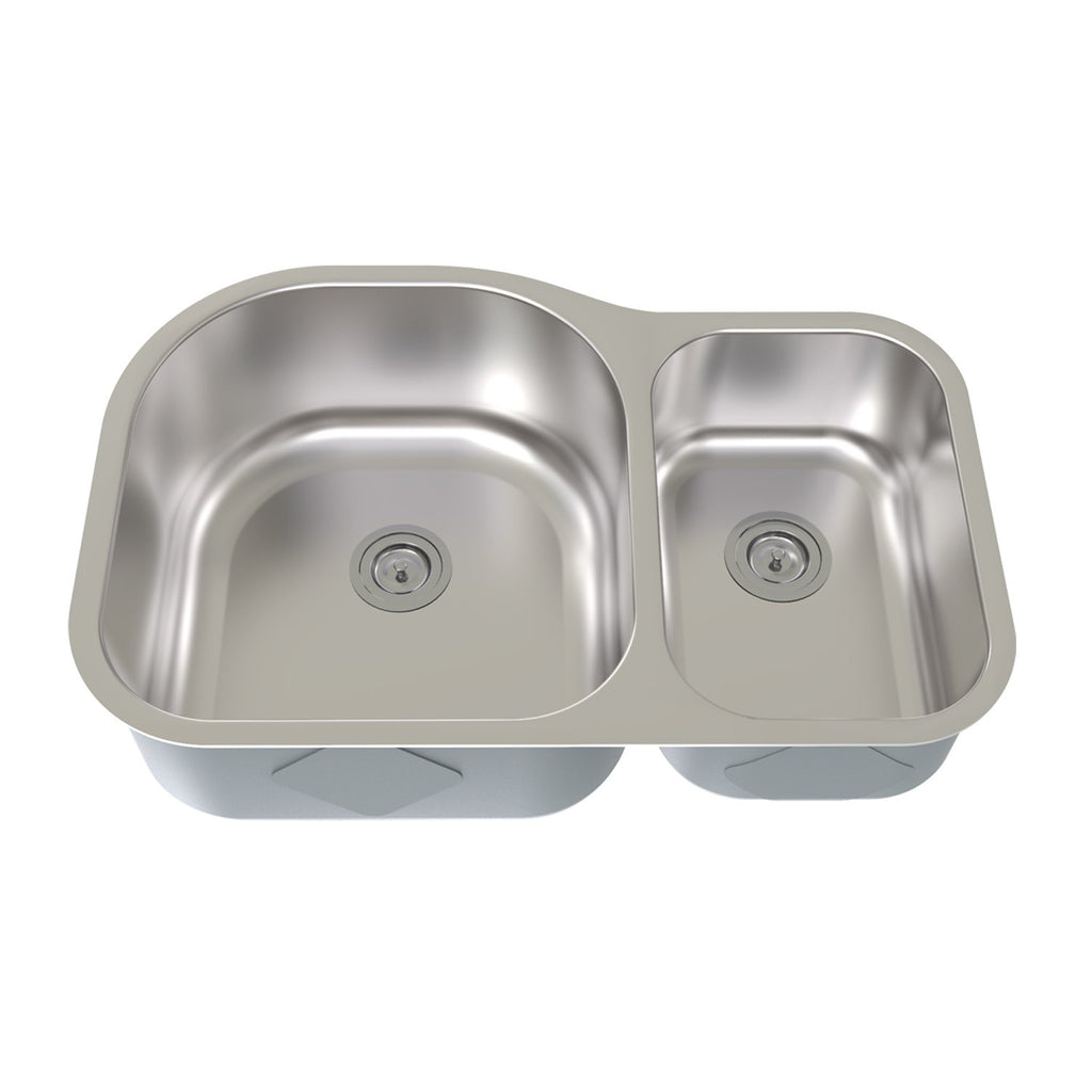 DAX 70/30 Double Bowl Undermount Kitchen Sink, 18 Gauge Stainless Steel, Brushed Finish, 31 x 21 x 9 Inches (KA-3121L)