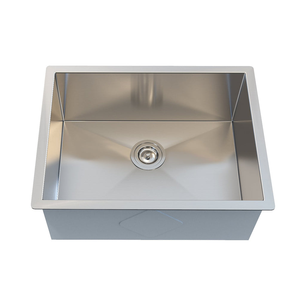DAX Handmade Single Bowl Undermount Kitchen Sink, 18 Gauge Stainless Steel, Brushed Finish, 23 x 18 x 10 Inches (KA-SQ-2318-18)