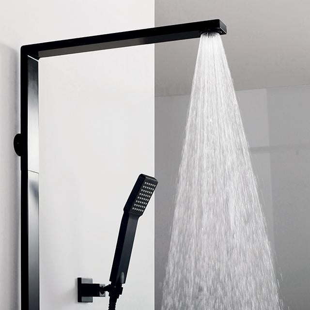 DAX Shower System, Faucet Set, with Shower Tub Trim and Hand Shower, Wall Mount, Brass Body, Black Finish (DAX-8166C-PB)