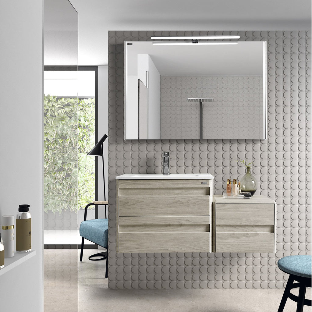 "24"" Single Vanity, Wall Mount, 2 Drawers with Soft Close, Cloud, Serie Barcelona by VALENZUELA"
