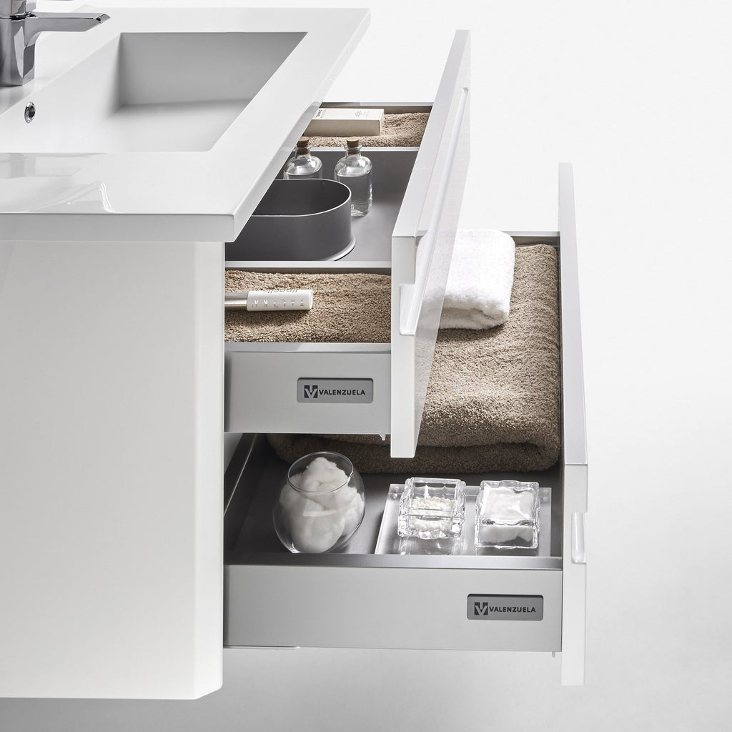"24"" Single Vanity, Wall Mount, 2 Drawers with Soft Close, White, Serie Barcelona by VALENZUELA"