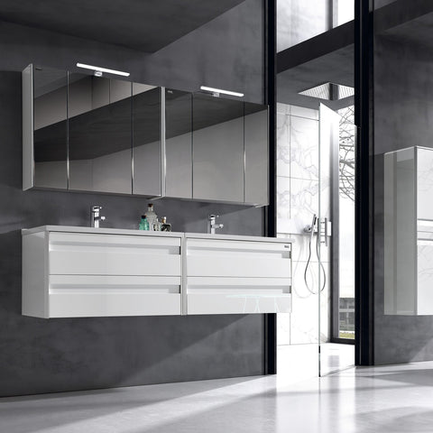 "40"" Single Vanity, Wall Mount, 2 Drawers with Soft Close, White, Serie Barcelona by VALENZUELA"