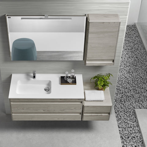"48"" Single Vanity, Wall Mount, 2 Drawers with Soft Close, Cloud, Serie Barcelona by VALENZUELA"