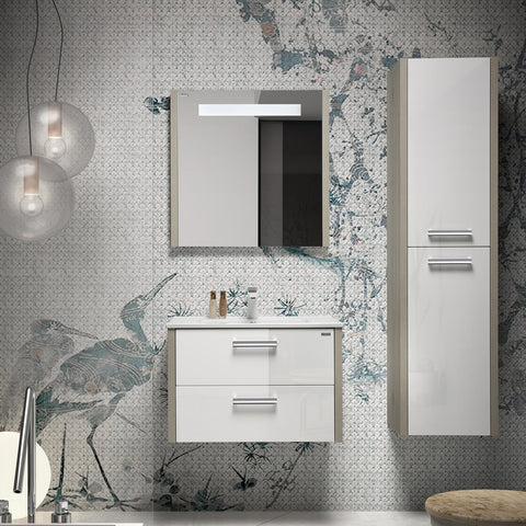 "32"" Single Vanity, Wall Mount, 2 Drawers with Soft Close, Sand - White, Serie Nova by VALENZUELA"
